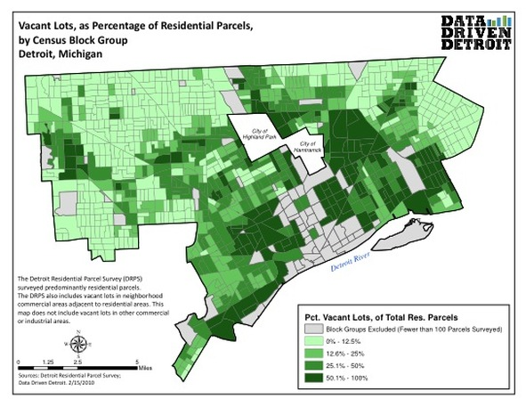 detroit vacant land map Vacant Lots How Detroit Happened detroit vacant land map